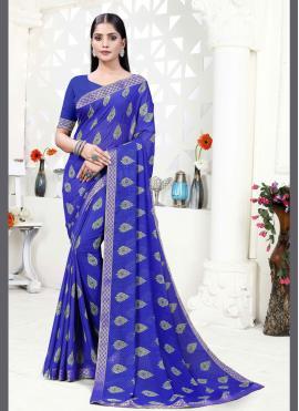 Scintillating Blue Printed Saree