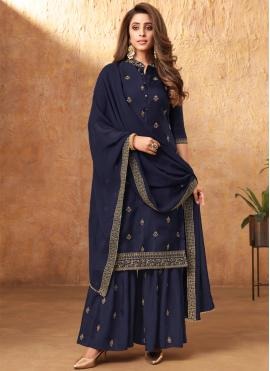 Scintillating Blue Silk Designer Pakistani Salwar Suit