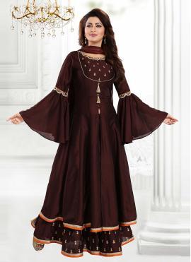 Scintillating Brown Art Silk Readymade Suit