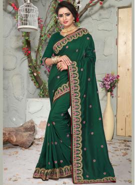 Scintillating Embroidered Art Silk Green Designer Traditional Saree
