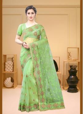 Scintillating Embroidered Net Contemporary Saree
