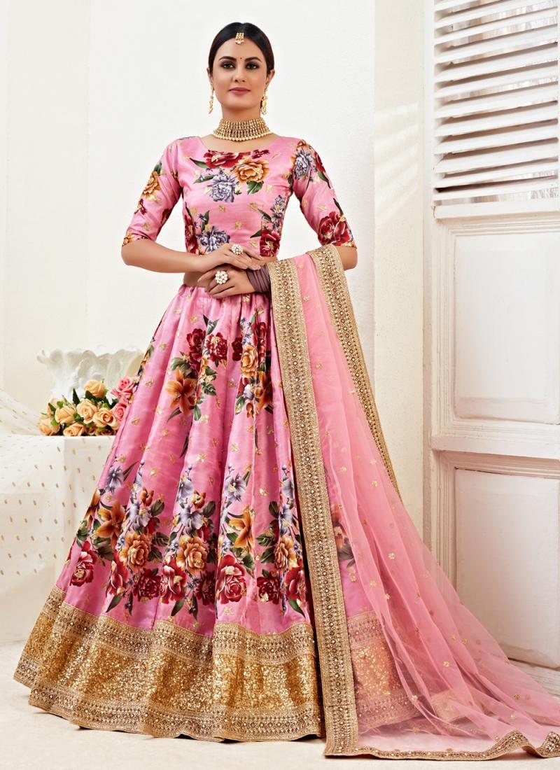 Scintillating Embroidered Pink Satin Silk Lehenga Choli