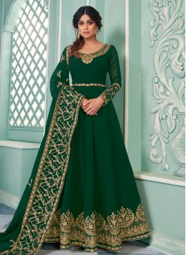 Scintillating Embroidered Shamita Shetty Faux Georgette Floor Length Anarkali Salwar Suit