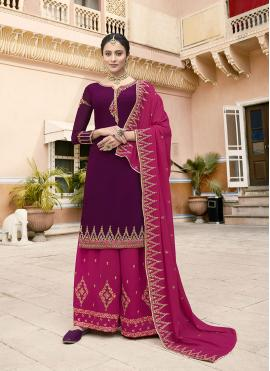 Scintillating Faux Georgette Wine Designer Pakistani Suit