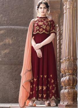 Scintillating Red Resham Faux Georgette Floor Length Anarkali Suit