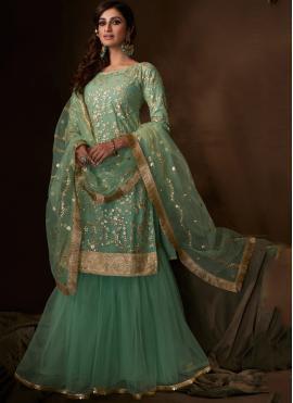 Scintillating Sequins Sea Green Net Salwar Suit
