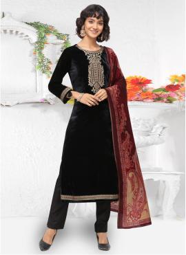 Scintillating Velvet Black Pant Style Suit