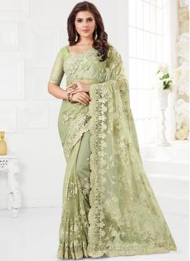 Sea Green Ceremonial Net Traditional Saree