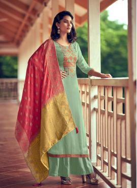 Sea Green Color Designer Palazzo Salwar Kameez