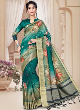Sea Green Digital Print Festival Printed Saree