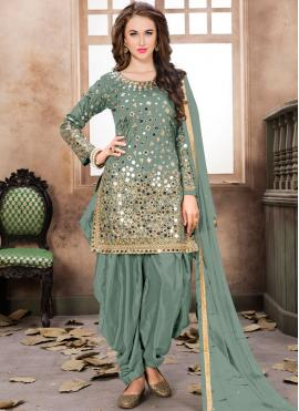 Sea Green Embroidered Designer Patiala Suit