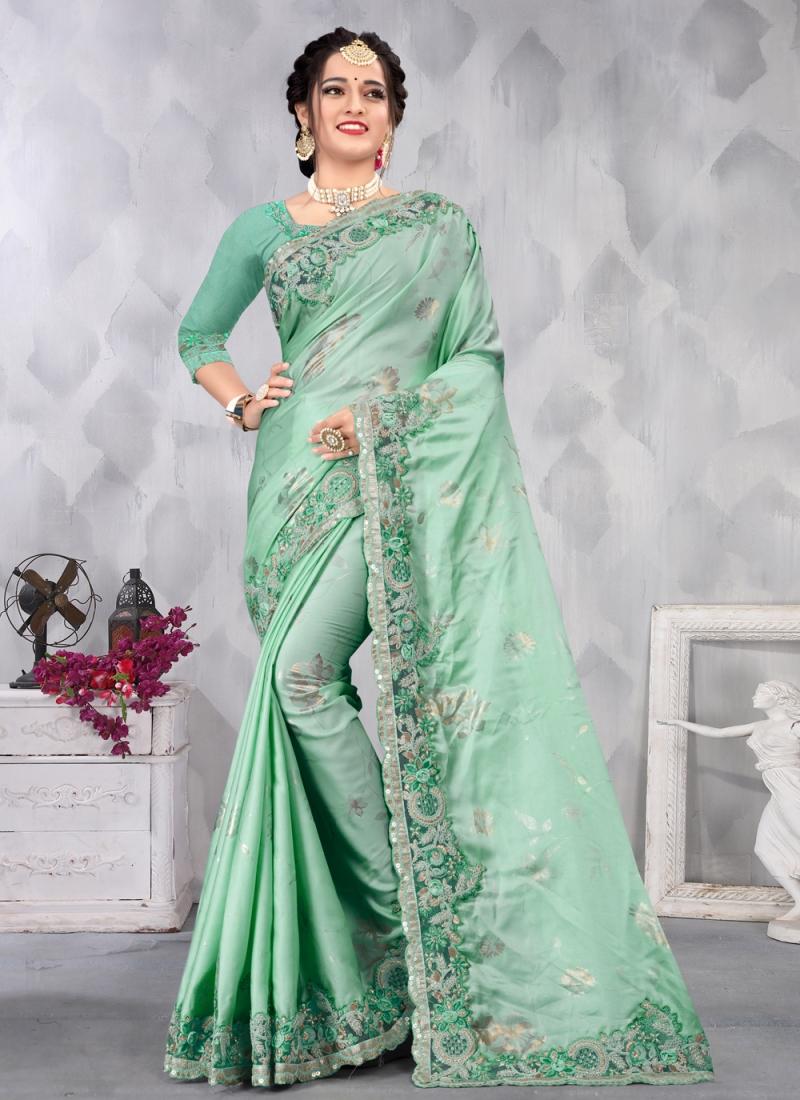 Sea Green Embroidered Engagement Designer Saree