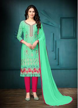 Sea Green Embroidered Festival Churidar Suit