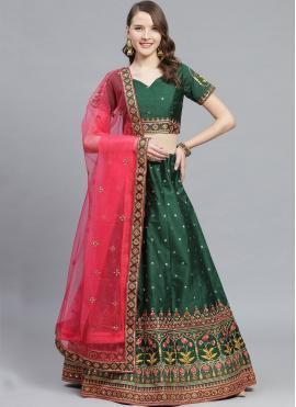 Sea Green Embroidered Silk Bollywood Lehenga Choli