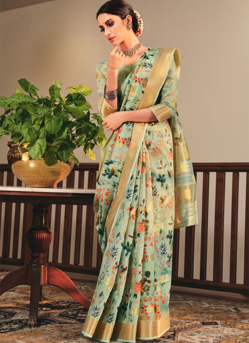 Sea Green Linen Festival Printed Saree
