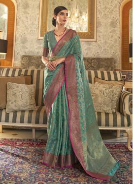 Sea Green Tussar Silk Weaving Designer Traditional Saree