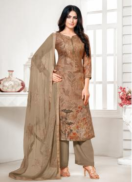 Sensational Brown Cotton Silk Designer Palazzo Suit