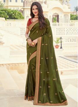Sensational Green Ceremonial Designer Saree