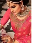 Sensational Orange and Rose Pink Banarasi Silk Lehenga Choli - 1