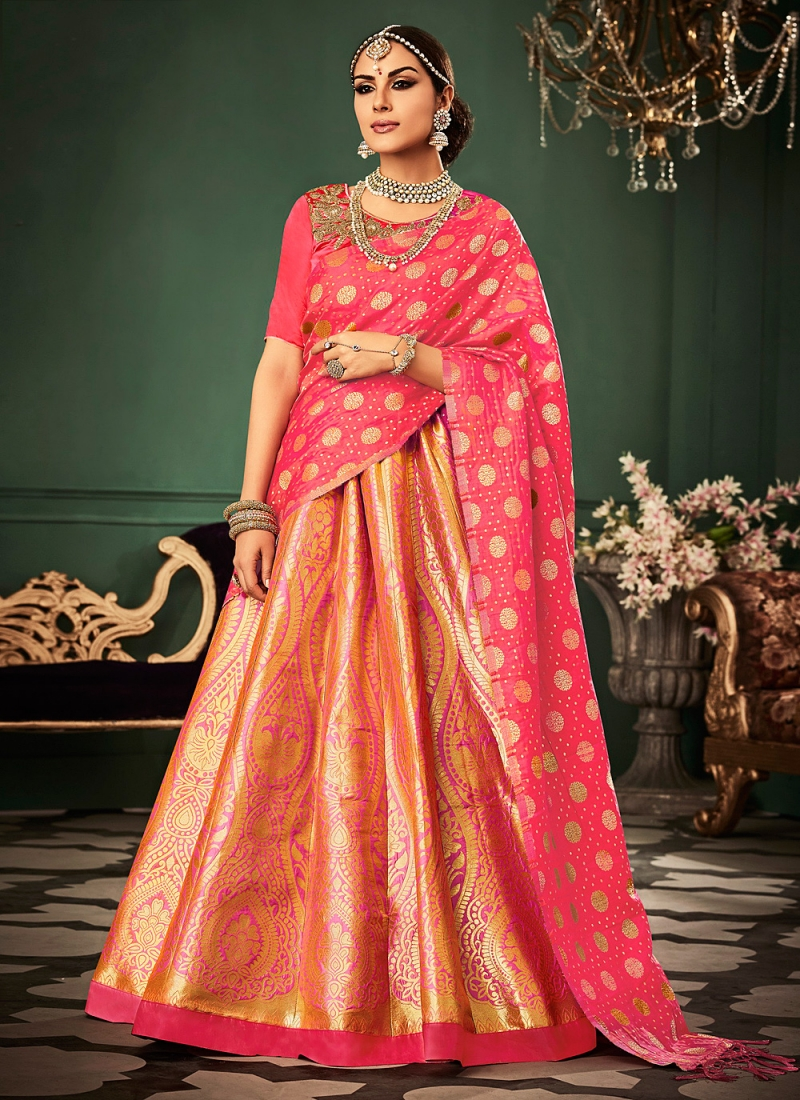 Sensational Orange and Rose Pink Banarasi Silk Lehenga Choli