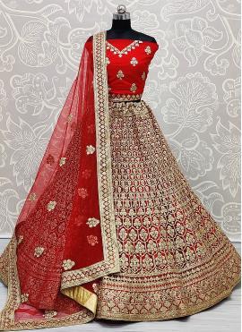 Sensational Red Patch Border Net Lehenga Choli
