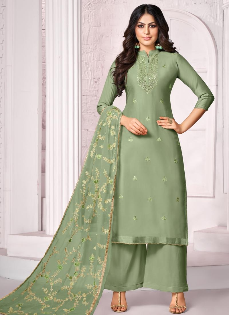 Sensible Cotton Embroidered Green Designer Palazzo Salwar Suit
