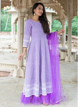 Sensible Cotton Purple Readymade Suit