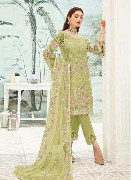 Sensible Green Embroidered Pant Style Suit