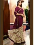 Sensible Printed Georgette Wine Bollywood Saree - 1
