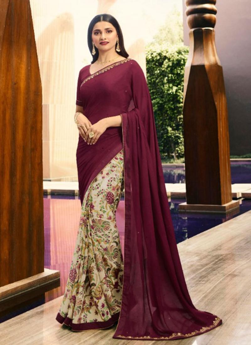 Sensible Printed Georgette Wine Bollywood Saree
