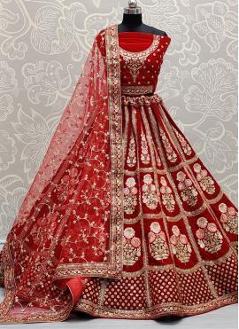 Sensible Red Thread Velvet Lehenga Choli