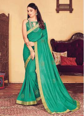 Sensible Sea Green Silk Designer Traditional Saree