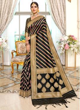 Sensible Weaving Banarasi Silk Black Traditional Saree