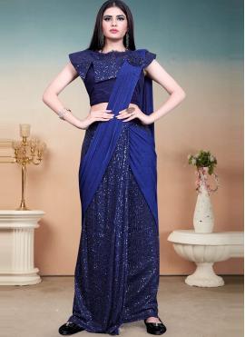 Sequins Lycra Designer Saree in Blue