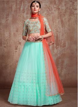 Sequins Net Trendy Lehenga Choli in Turquoise