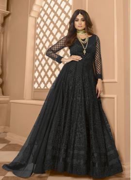Shamita Shetty Embroidered Black Net Floor Length Anarkali Suit