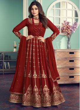 Shamita Shetty Embroidered Maroon Designer Floor Length Suit