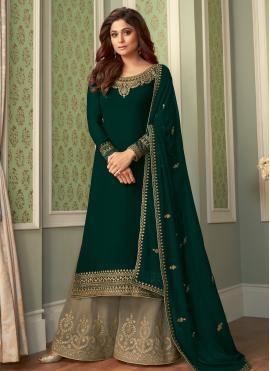 Shamita Shetty Entrancing Green Designer Palazzo Salwar Suit