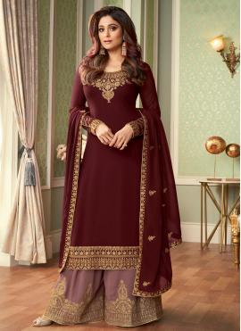 Shamita Shetty Faux Georgette Embroidered Designer Palazzo Suit