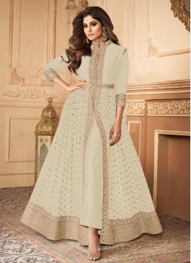 Shamita Shetty Faux Georgette Off White Resham Designer Floor Length Suit