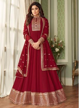 Shamita Shetty Faux Georgette Red Floor Length Designer Suit