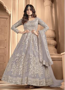 Shamita Shetty Grey Net Resham Floor Length Anarkali Suit