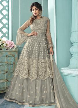 Shamita Shetty Lace Grey Long Choli Lehenga