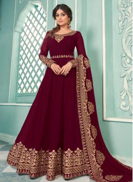 Shamita Shetty Magenta Faux Georgette Floor Length Anarkali Suit