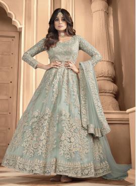 Shamita Shetty Net Blue Floor Length Anarkali Suit