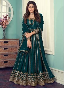 Shamita Shetty Teal Faux Georgette Embroidered Designer Floor Length Suit