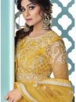 Shamita Shetty Yellow Net Long Choli Lehenga - 1