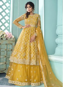 Shamita Shetty Yellow Net Long Choli Lehenga