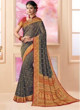 Shimmer Weaving Brown Trendy Saree