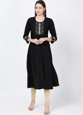 Sightly Black Embroidered Rayon Casual Kurti